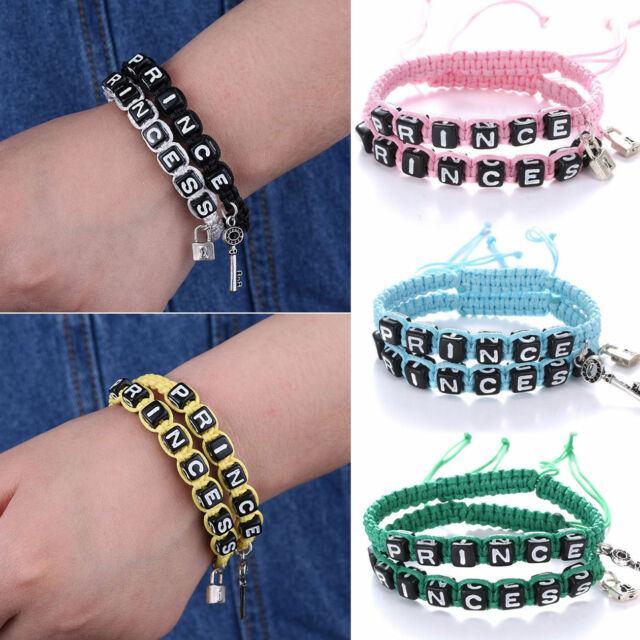 2x Prince and Princess Couple Bracelet King Queen His Hers Friendship Lock Key