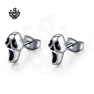 Silver-stud-stainless-steel-ghost-earrings-soft-gothic