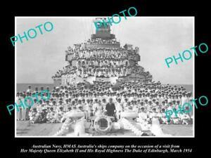 OLD-POSTCARD-SIZE-PHOTO-OF-AUSTRALIAN-NAVY-CREW-OF-THE-HMAS-AUSTRALIA-c1954