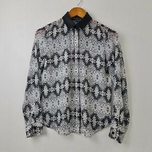 Armani-Exchange-Women-039-s-Black-White-Button-Up-Shirt-Faux-Leather-Neck-Size-XS