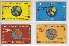 4 TELECARTE / PHONE CARD .. FRANCE PREPAYEE ECONOTEL MONDE MIX  DIFFERENTS A4