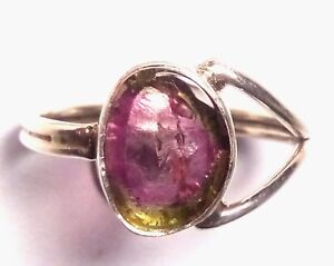 Natural-By-Color-Tourmaline-Ring-Handmade-925-Sterling-silver-Ring-Size-8