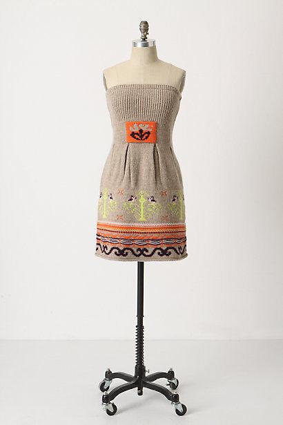 NEW Anthropologie Sleeping Snow taupe Fairisle Strapless Sweater Dress XS