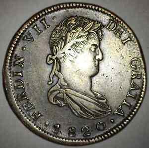ZACATECAS MEXICO EIGHT 8 REALES 1820 A.G. SILVER COIN CRUDE STYLE DEI W/O DOT