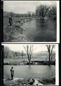 OTTER CREEK EROSION - 2  Rare PHOTOGRAPHS - Clarendon, VERMONT Smith/Towers Farm