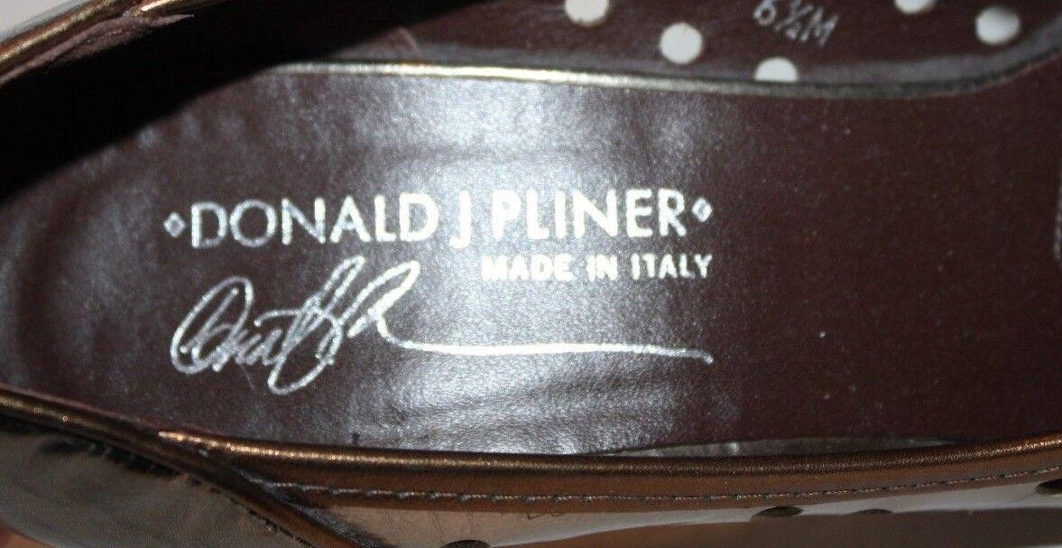 Donald J Pliner Zazas Silber Bronze Sz Open Toe 3.5  Heels W  Bows Sz Bronze 6.5M FREE Shp fa8da7