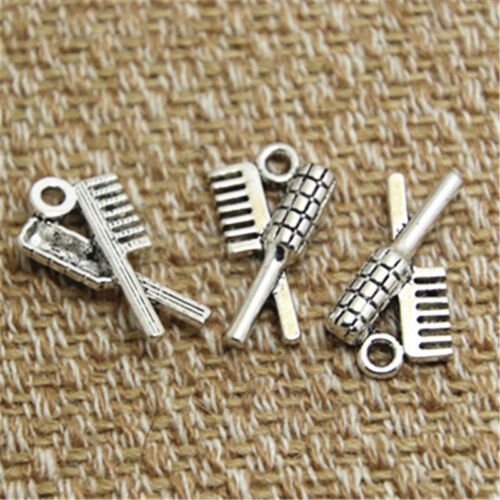 30pcs- Hair Brush and comb Charms silver tone Hair Charms pendants 19x12mm