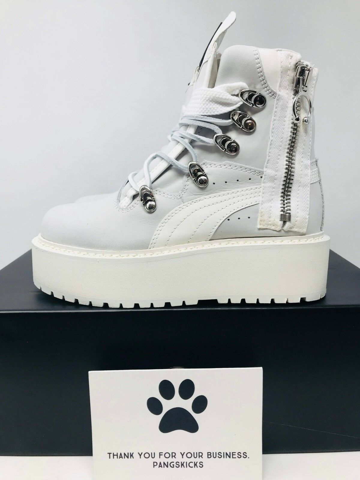 e67db6caf496 Women s PUMA Fenty by Rihanna Sneaker Shoe Boot 36347501 Size 5 White W19  DC for sale online