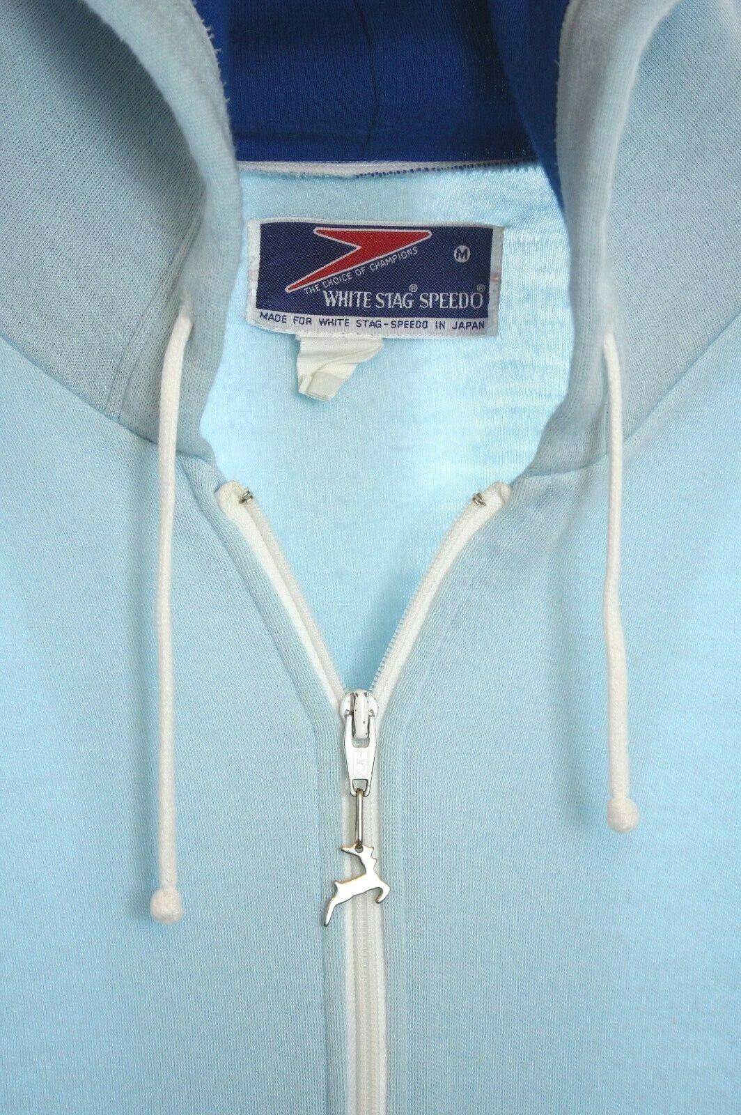 * Vintage 1970s Tracksuit Hoodie Jacket White Stag Speedo JAPAN Men's Med 70s