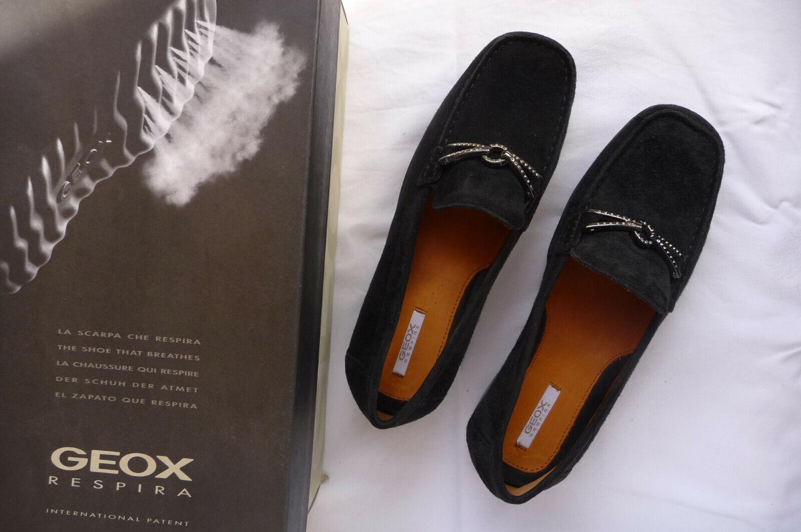 Schuhe GEOX GEOX GEOX Respira Gr. 37 Schwarz Nubukleder Futter Leder Neu & ungetragen 66aa89