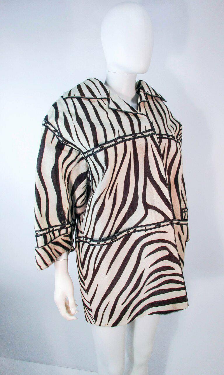AMEN WARDY Zebra Pattern Cowhide Coat Size 4-8 - image 4