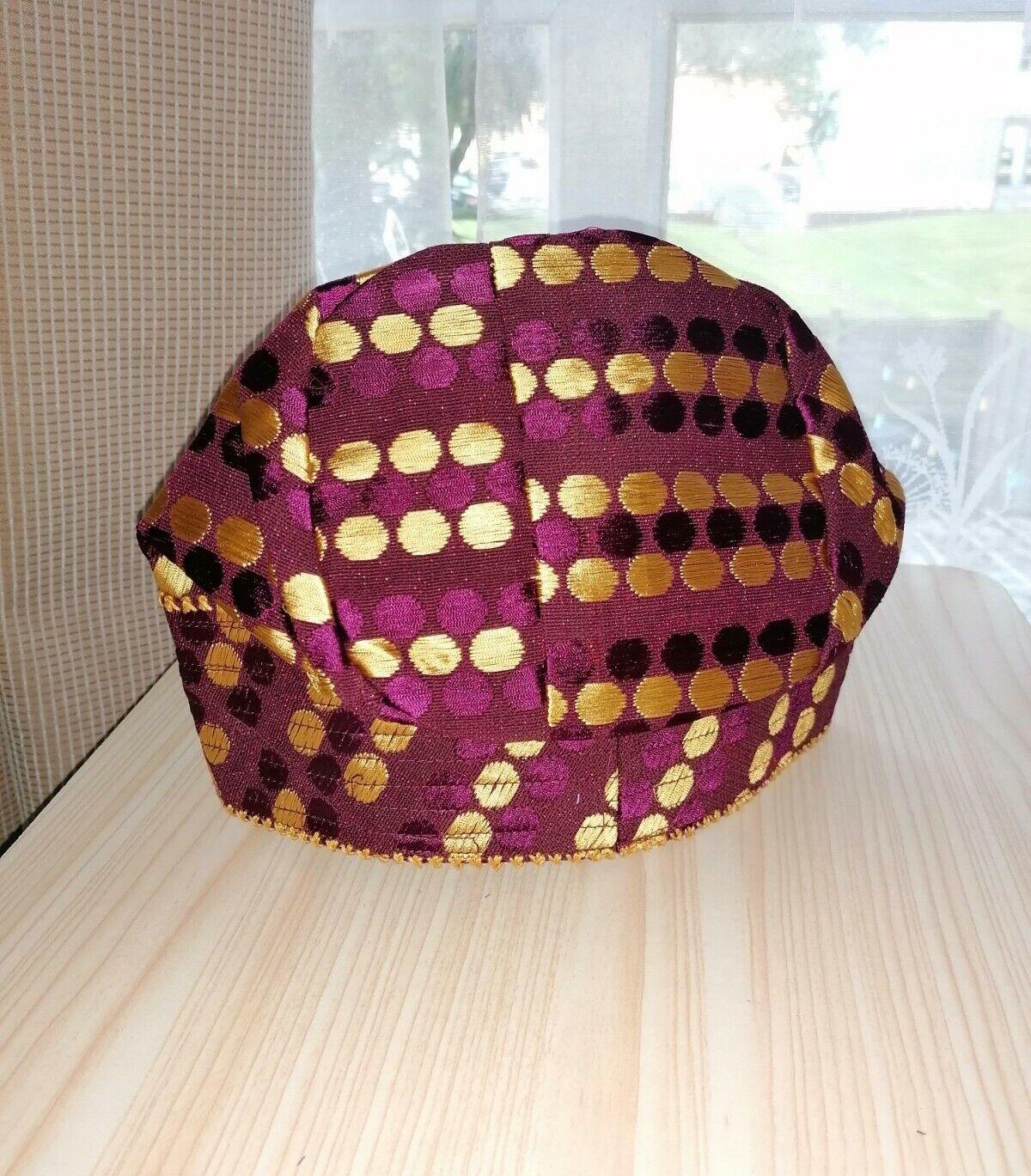 NEW NIGERIA Aso Oke Men's CAP(FILA) MAROON & GOLDCOLOUR. SIZE 22.5 inches