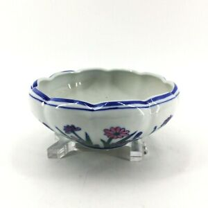 AAA Imports Pottery Planter Bowl Glazed Ceramic Blue White Pink Purple Flowers
