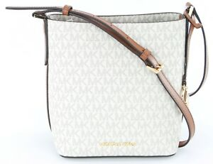0e4aca0836af Image is loading Michael-Kors-Kimberly-Vanilla-Monogram-Bucket-Bag-Cross-