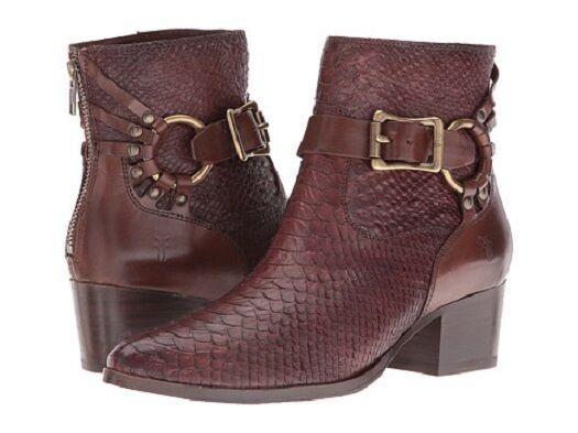 New Womens Frye Zoe Ring Short Dark Brown Smooth Full Grain/Snakeskin Boots