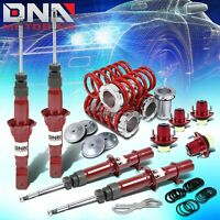 For 92-95 Civic/dc Dna Gas Shocks+scaled Coilover Springs+mount Top Hat Kit Red
