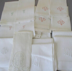 Estate Lot of 21 Vintage Irish LINEN Hand Embroidered Towels * VOLK Provenance