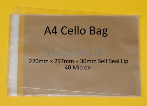A4 - 220 mm x 297 mm + 30 Mm Lip-Cellophane affichage Sac-artistes CELLO