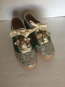 e38c75010 Image is loading Gucci-Falacer-Glitter-Sneaker-Size-7-Women