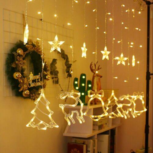 Christmas LED Curtain Window Star Elk String Fairy Lights Waterproof Decor UK