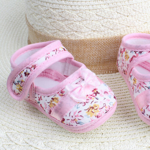Pretty Fashion Baby Girls Soft Sole Bowknot Print Anti-slip Casual Shoes Toddler