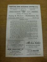 20/02/1965 Tooting And Mitcham United v Walthamstow Avenue  (Four Pages, Light M