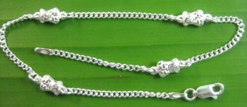 MADE IN ITALY 925 Sterling Silver TEDDY BEAR 2mm CURB BRACELET ANKLET BOY GIRL