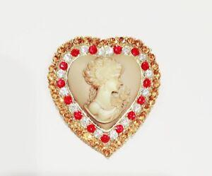 Nouveau Victoria Concept Rouge Marron Cristal Cameo Amour Broche Pendentif Charm BR1088