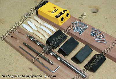 Pocket hole drill guide jig kit