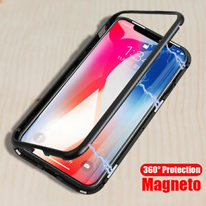 Magnetic-Adsorption-Metal-Coque-Pour-iPhone-X-7-8-Plus-Verre-Trempe-Back-Housse