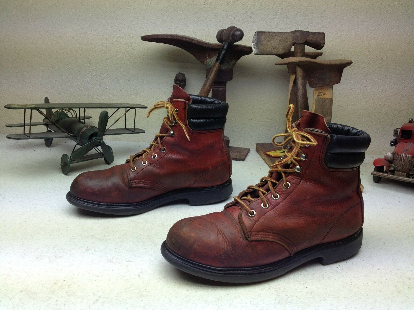 VINTAGE MADE IN USA DISTRESSED OXBLOOD rot WING LACE UP PACKER Stiefel Größe 9.5 B