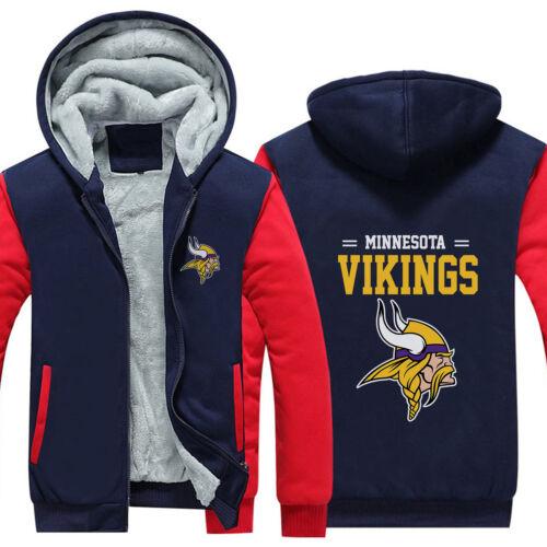 con capucha Vikings con de y capucha capucha Abrigo forro cálido Minnesota los polar invierno Sudadera con de Sudadera d45wvqd