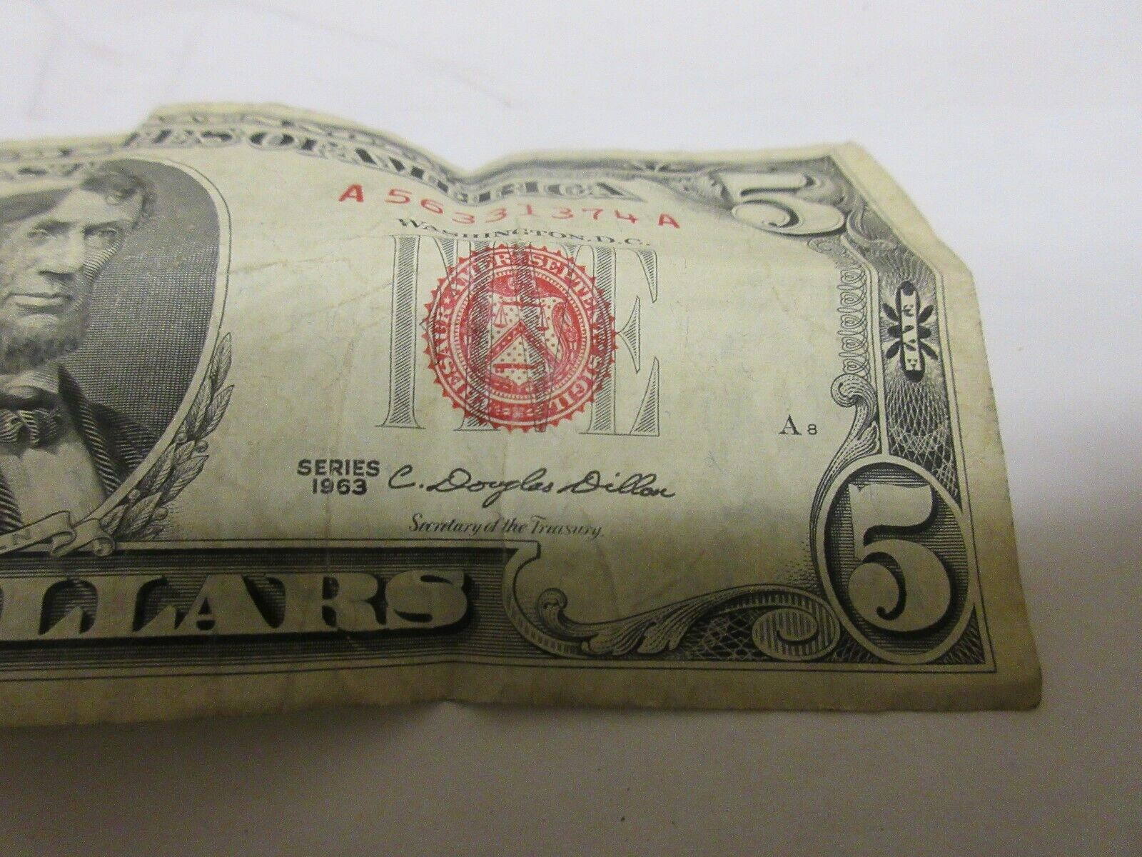 Series 1963 United States Note $5 Bill w/ Red Seal & Se