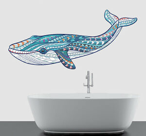 Colourful Patterned Whale Wall Art Vinyl Sticker Ocean Sea Bathroom Decal Mural Ebay