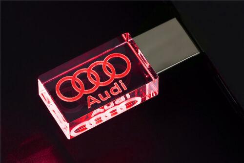 USB Flash Drive 2.0 Metal Stick 4//8//16//32//64 GB  Car Logo Audi Cool LED Light