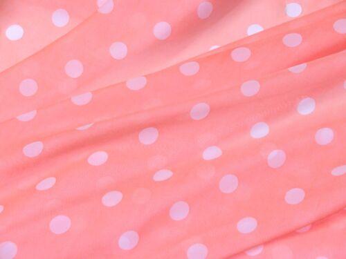 "White Polka Dot Coral Orange CHIFFON Sheer Fabric 60/""W Dress Decor Craft BTY"