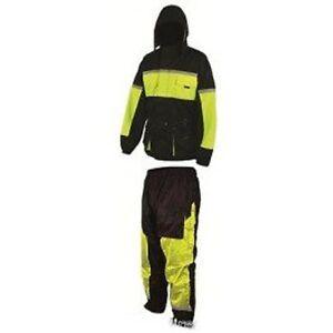 Black-100-Waterproof-Hi-Viz-Two-2-Piece-Rain-Suit-Full-Body-Motorbike-Oversuit