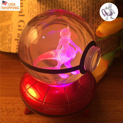 Raichu Crystal Pokeball Pokemon 3D K9 Night Light Table Lamp Best Xmas Gift USB