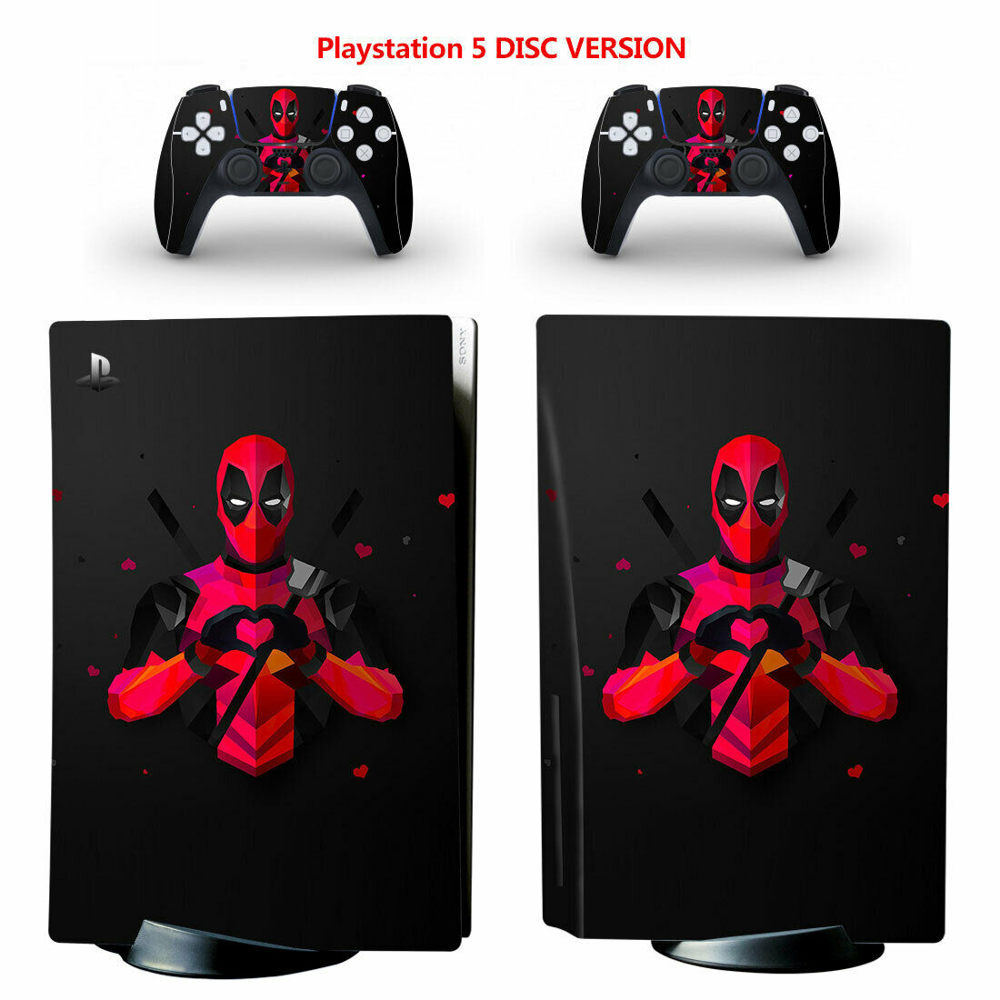 Deadpool PS5 PlayStation 5 Disc Console Controllers Vinyl Decal Skin Sticker