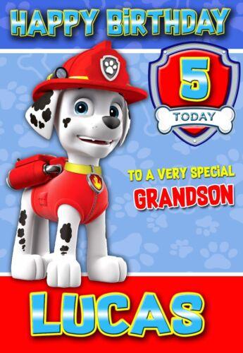 Marshall Paw Patrol Personalised birthday card with Env Son Grandson Nephew 01