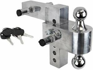 Aluminum-6-034-Drop-Adjustable-Hitch-Trailer-Receiver-Tow-Dual-3-Balls-Pin-Truck-RV