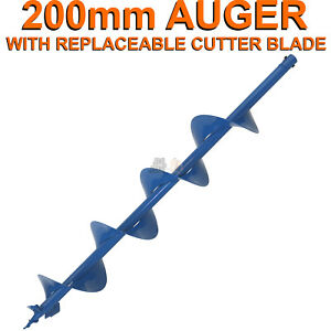 200mm-x-100cm-Earth-Auger-Fence-Borer-Drill-Bit-For-Perla-Barb-Post-Hole-Digger