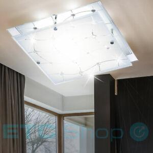 LED Decken Leuchte Chrom Wohn  Ess Zimmer Beleuchtung Glas Gitter Kristall Lampe