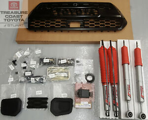 NEW OEM TOYOTA TACOMA 18-21 BLACK TRD PRO GRILLE & SENSOR TRD SHOCKS & LIFT KIT