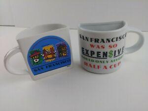 Vintage-San-Francisco-Coffee-Mug-Souvenir-HALF-CUP-x2-unique-memorabilia