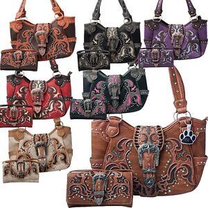 90de763e429d Details about Western Handbag Buckle Laser Cut Concealed Carry Women  Shoulder Purse Wallet Set