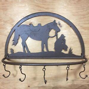 Image Is Loading Metal Cowboy Rustic Wall Hanger Rack Horse Western