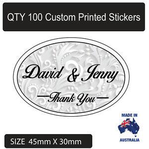 100 x Personalised Thankyou Wedding Bomboniere Envelope  Sticker Seals Labels