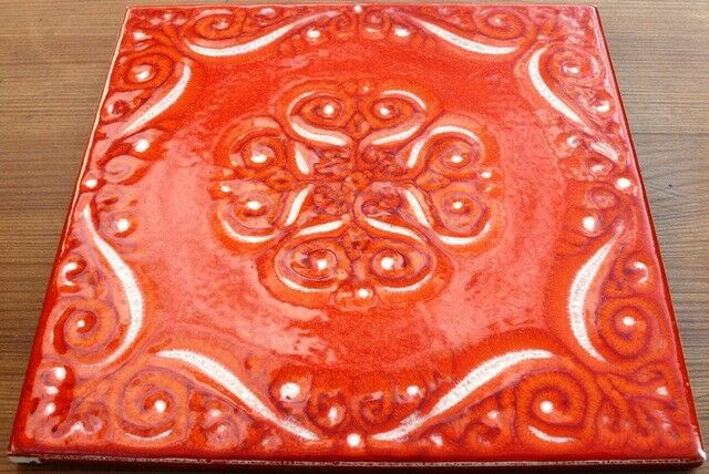 Fliese Retro 70er-/80er- Jahre 15,5x15,5cm Barbieri Burzi rot/Orange RLD1328