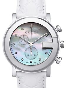 db1e060f4dd Gucci Quartz White Leather Mother of Pearl Diamond G-Chrono Watch ...